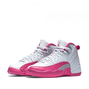 nike air jordan 12 retro gs White Metallic Silver Vivid Pink 510815-109 f