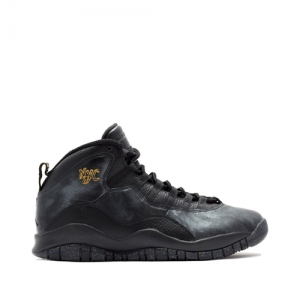 nike air jordan x 10 retro nyc new york Black-Black-Dark Grey-Metallic Gold 310805-012 f