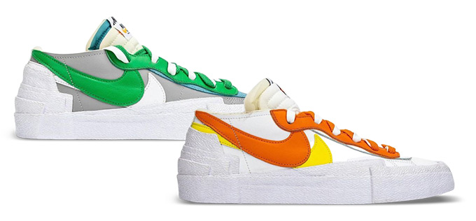 Nike x sacai Blazer Low Magma Orange and Classic Green