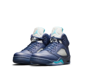 nike air jordan 5 v pre-grape midnight navy turquoise blue white hornets 136027-405 f2