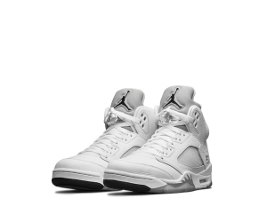 nike air jordan 5 v remastered metallic silver white black 136027-130 f