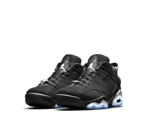 nike air jordan 6 low black silver metallic white 304401-003 f